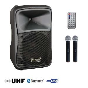 POWER ACOUSTICS - BE 9515 UHF MEDIA - Sono portable MP3+USB+ 2 micros main UHF